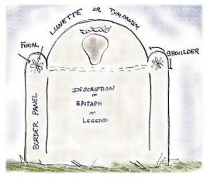 The parts of a typical gravestone